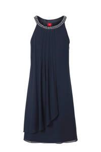 s.Oliver semi-transparante halter jurk met sierstenen donkerblauw, Donkerblauw