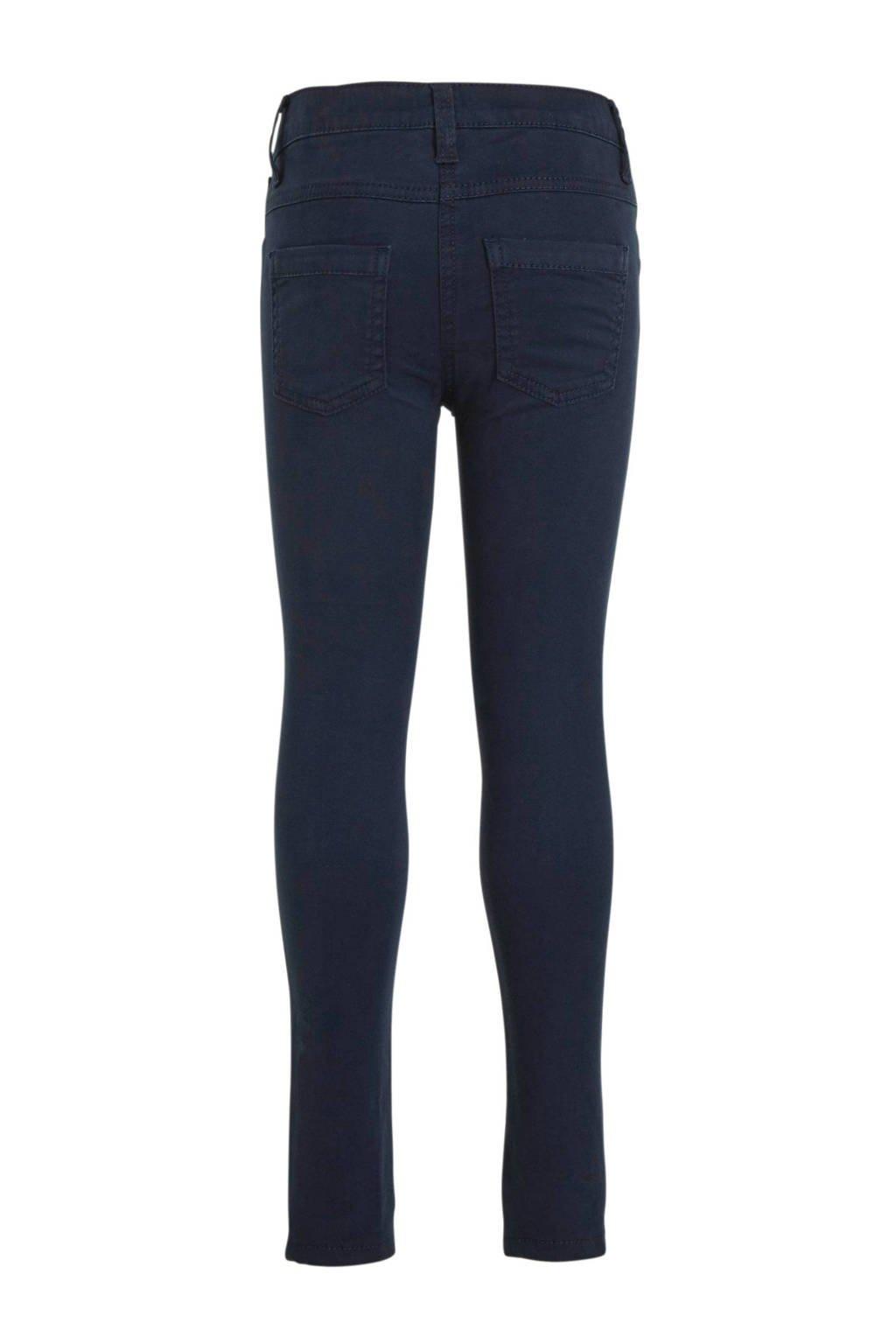 s.Oliver slim fit broek met zijstreep en pailletten donkerblauw, Donkerblauw