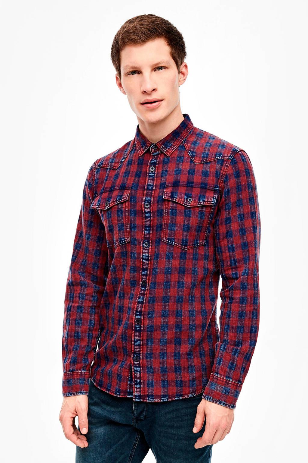 Q/S designed by geruit regular fit overhemd blauw/rood, Blauw/rood