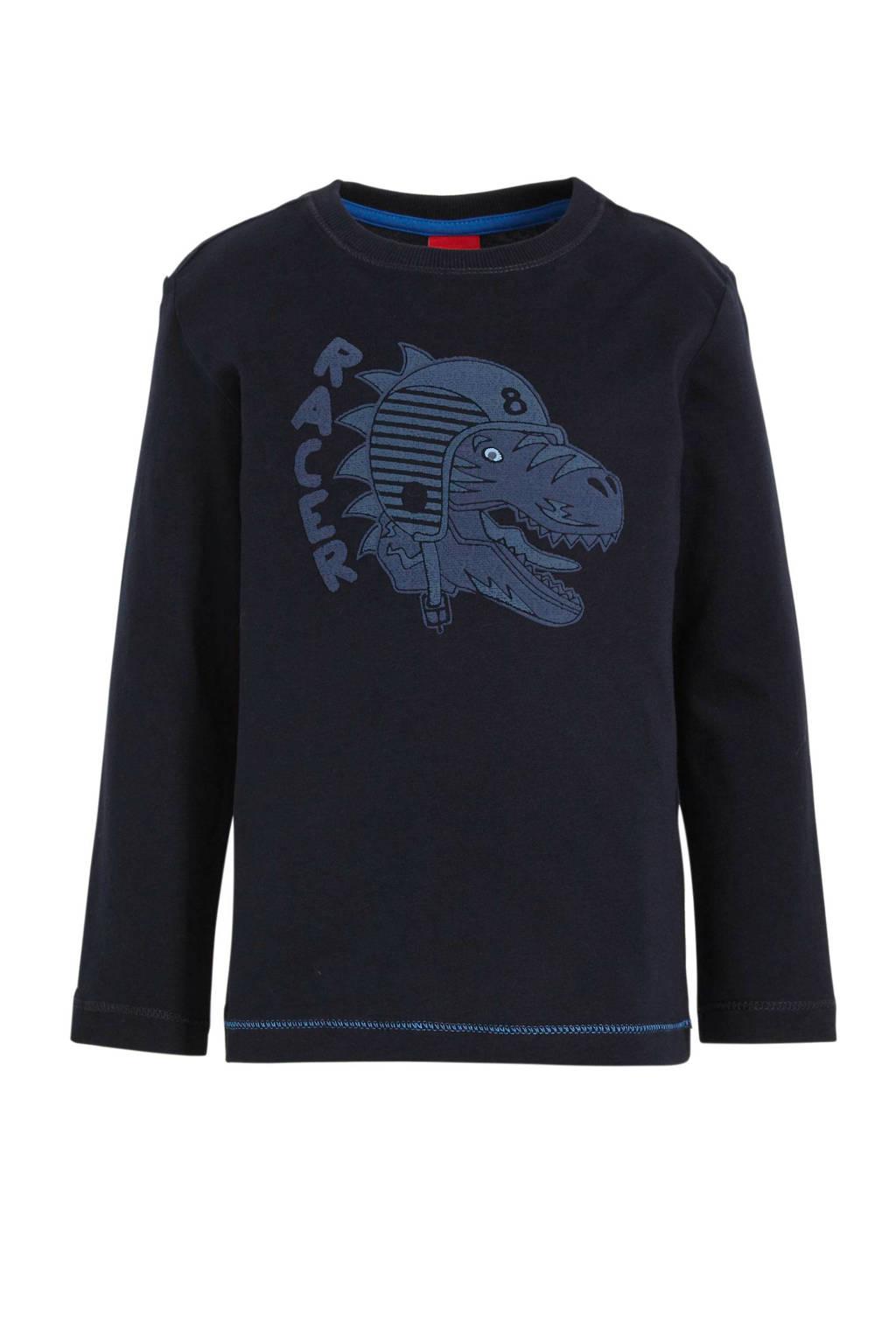 s.Oliver longsleeve met printopdruk en borduursels donkerblauw/blauw, Donkerblauw/blauw