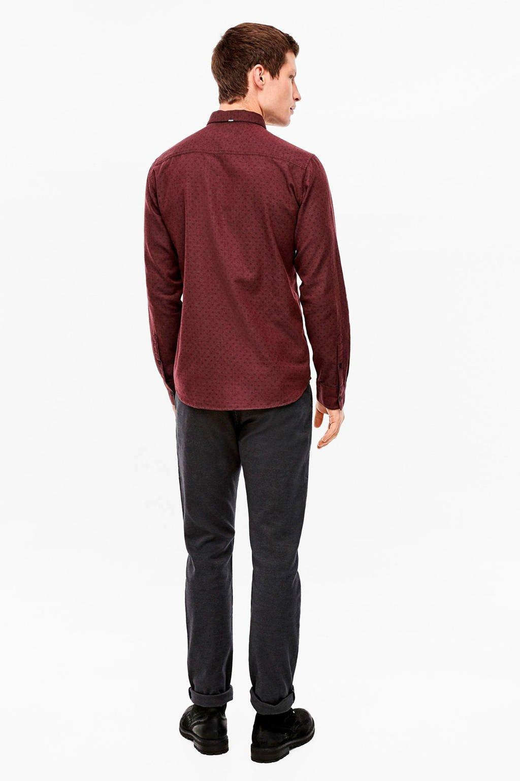 Q/S designed by gemêleerd regular fit overhemd donkerrood, Donkerrood