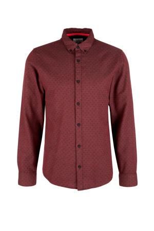 gemêleerd regular fit overhemd donkerrood