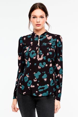 top met all over print en plooien zwart/groen/roze