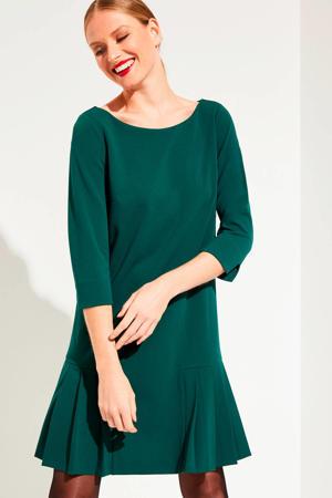 jersey jurk met plooien groen