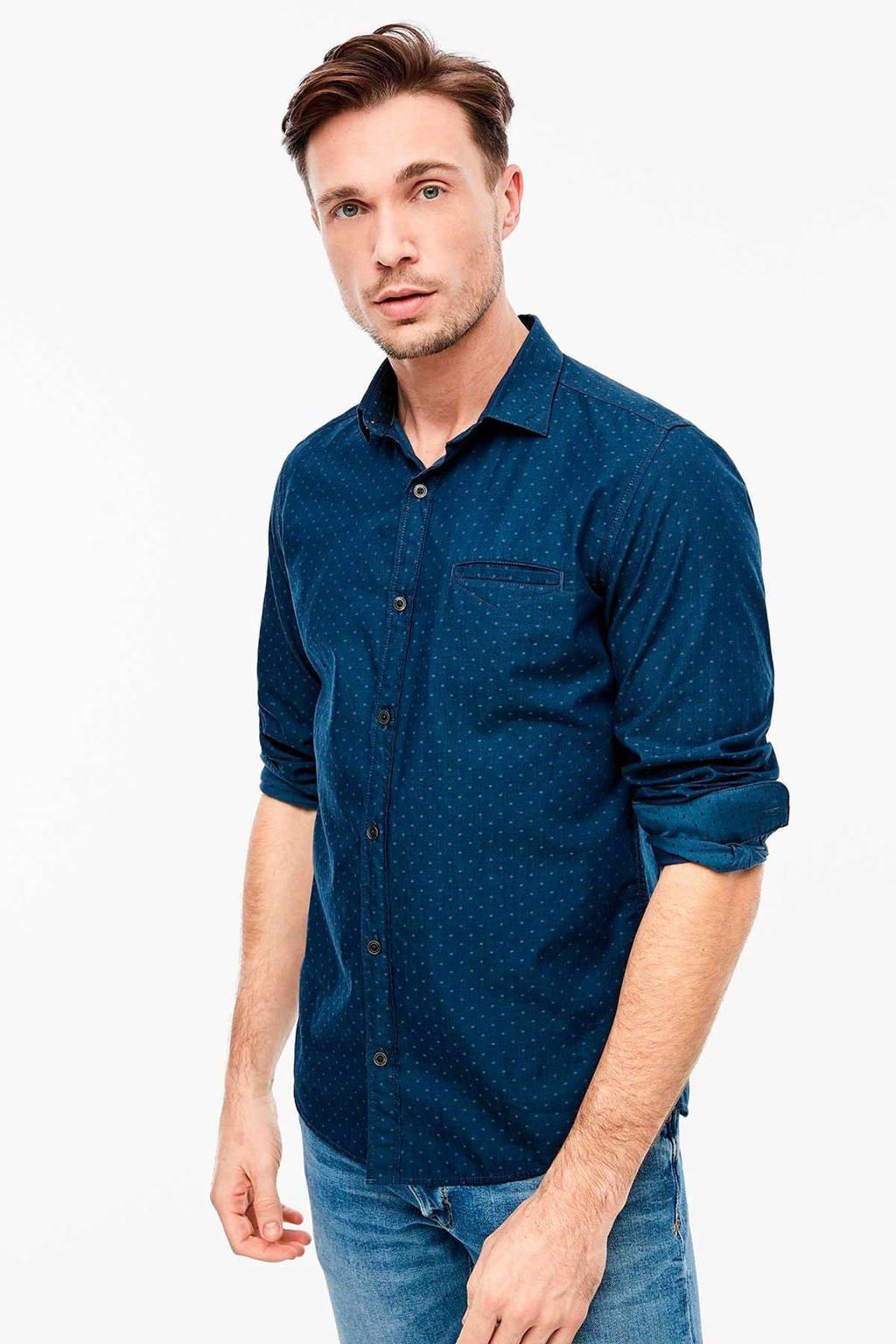 s.Oliver gemêleerd regular fit overhemd donkerblauw, Donkerblauw