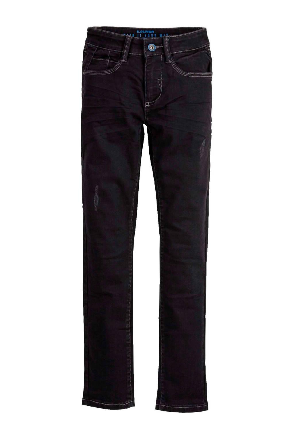 s.Oliver slim fit jeans met slijtage zwart, Zwart