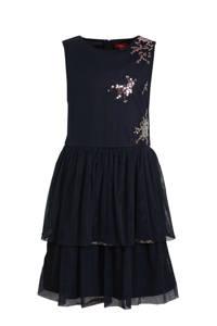 s.Oliver jersey jurk met pailletten donkerblauw/roze, Donkerblauw/roze