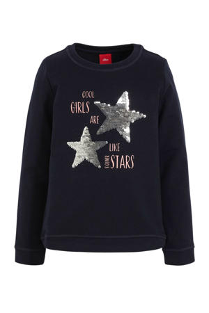 kerstsweater met sterren en pailletten donkerblauw/goud/lichtroze