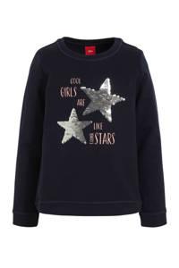 s.Oliver sweater met sterren en pailletten donkerblauw/goud/lichtroze, Donkerblauw/goud/lichtroze
