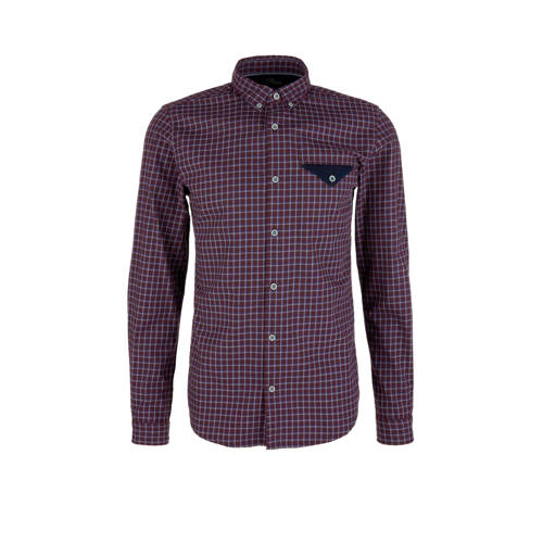 s.Oliver geruit regular fit overhemd aubergine