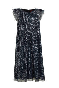 s.Oliver semi-transparante jurk met all over print en glitters marine/zilver, Marine/zilver