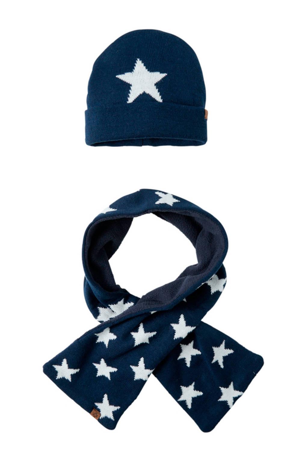 Sarlini baby muts en sjaal blauw, Blauw