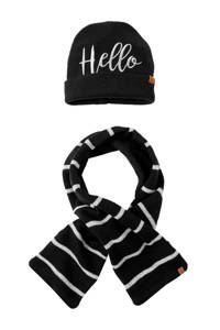 Sarlini baby muts en sjaal marine, Marine/wit