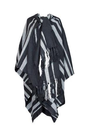 poncho zwart/wit