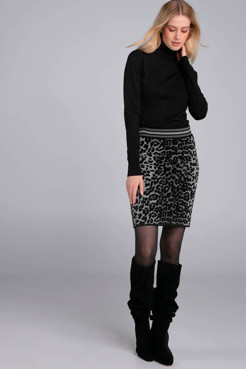 Claudia Sträter rok met luipaardprint grijs/zwart, Grijs,zwart