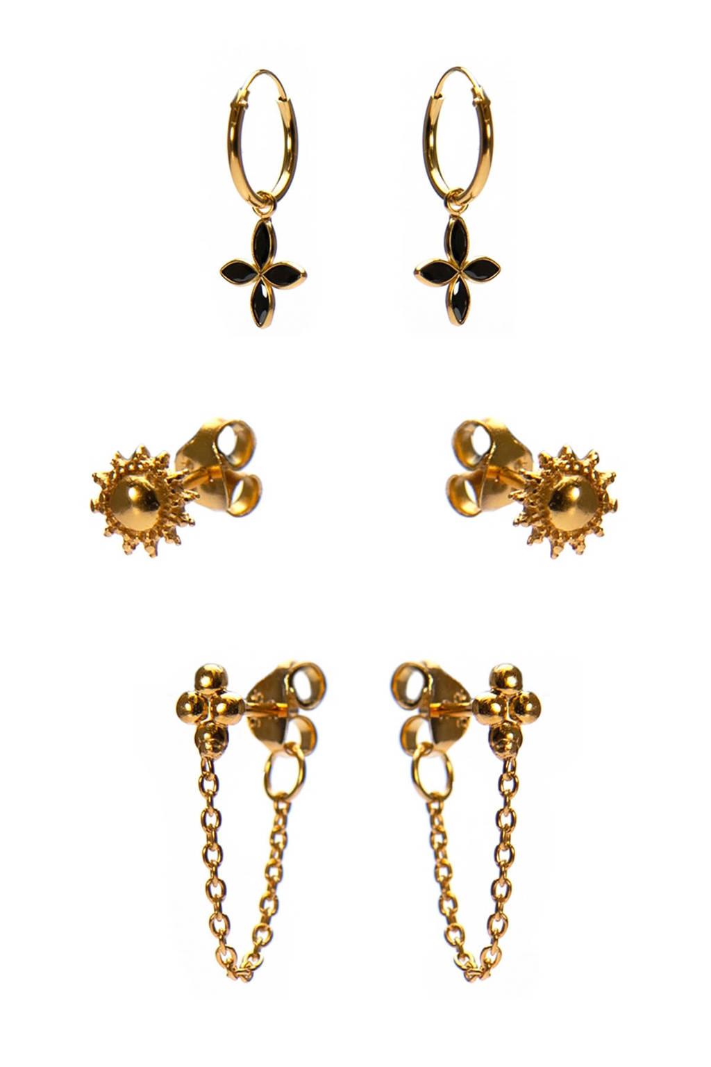 Karma oorbelllen set van 3 goudkleur, Goudkleurig