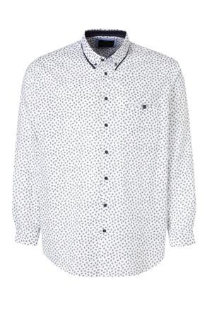 regular fit overhemd van biologisch katoen wit/zwart
