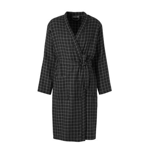 C&A Angelo Litrico jersey badjas met all over ruit print zwart