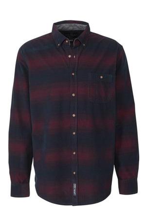 regular fit overhemd marine/donkerrood