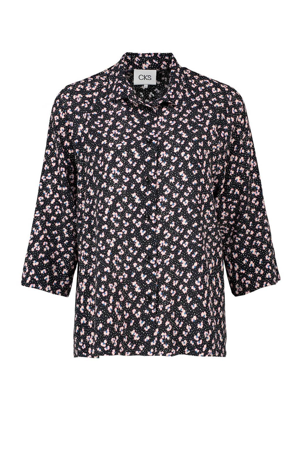 CKS gebloemde blouse zwart, Zwart
