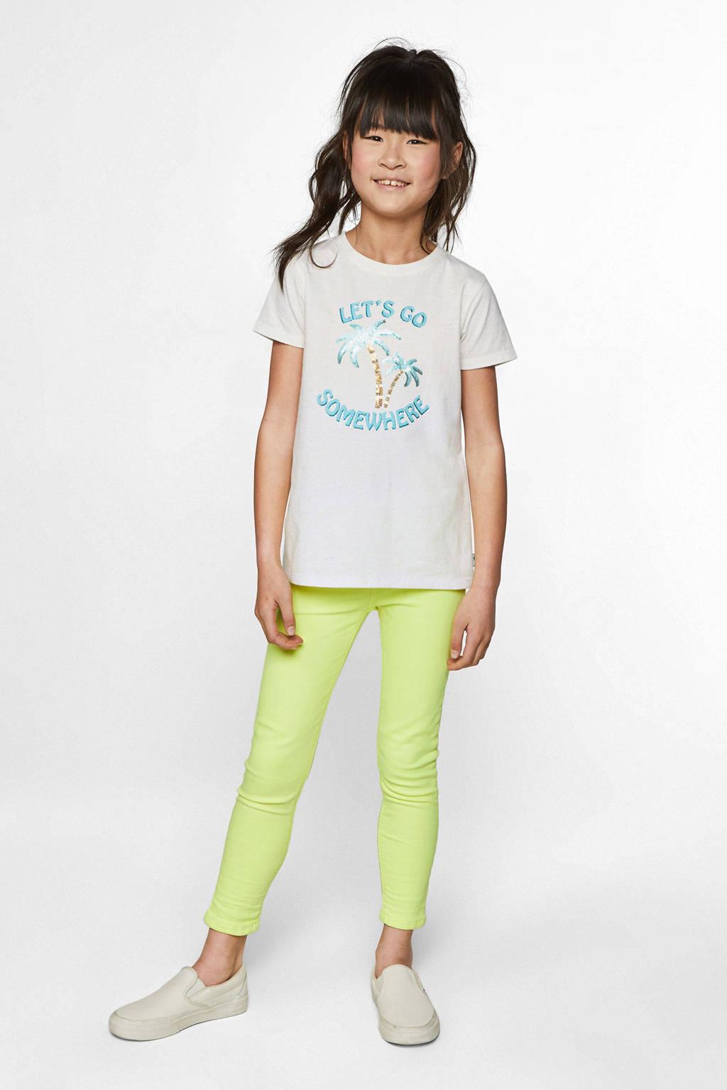 WE Fashion T-shirt met logo en pailletten wit/lichtblauw/goud, Wit/lichtblauw/goud