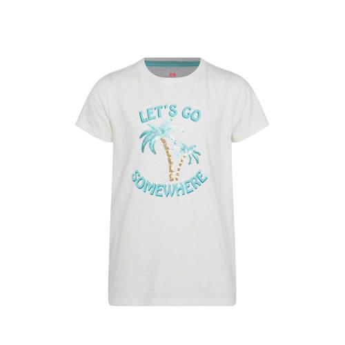 WE Fashion T-shirt met logo en pailletten wit/lich