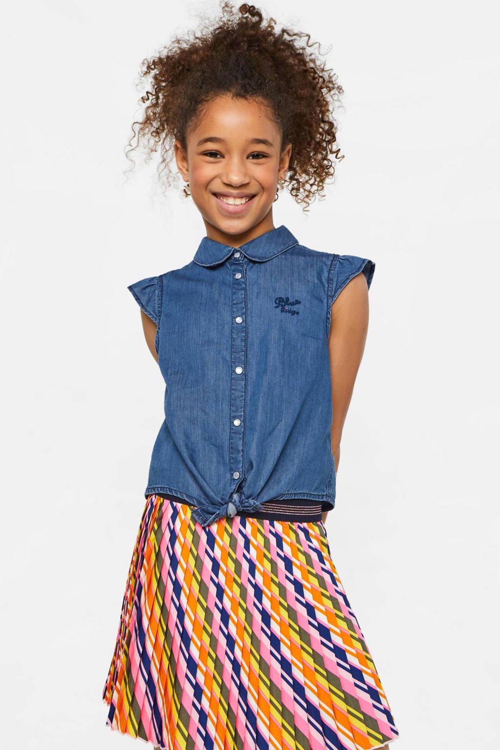 WE Fashion Blue Ridge top met tekst en borduursels dark denim, Dark denim