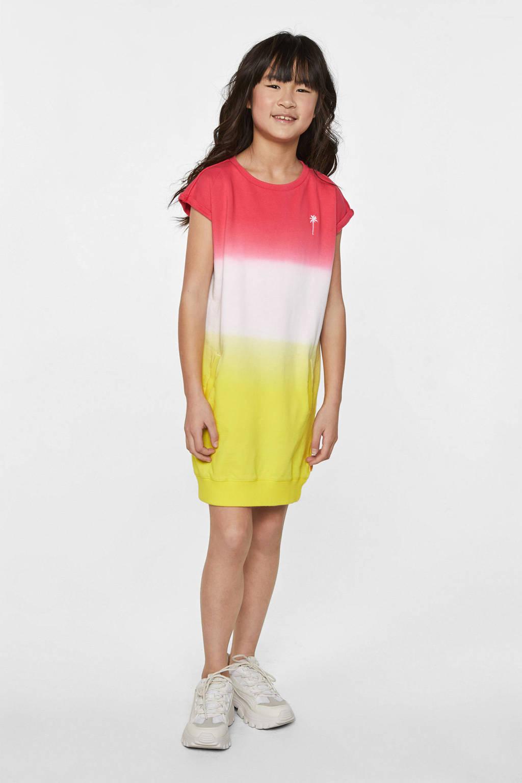 WE Fashion tie-dye sweatjurk roze/wit/geel, Roze/wit/geel