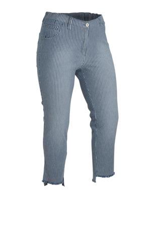 gestreepte slim fit capri Betty met wol grijsblauw