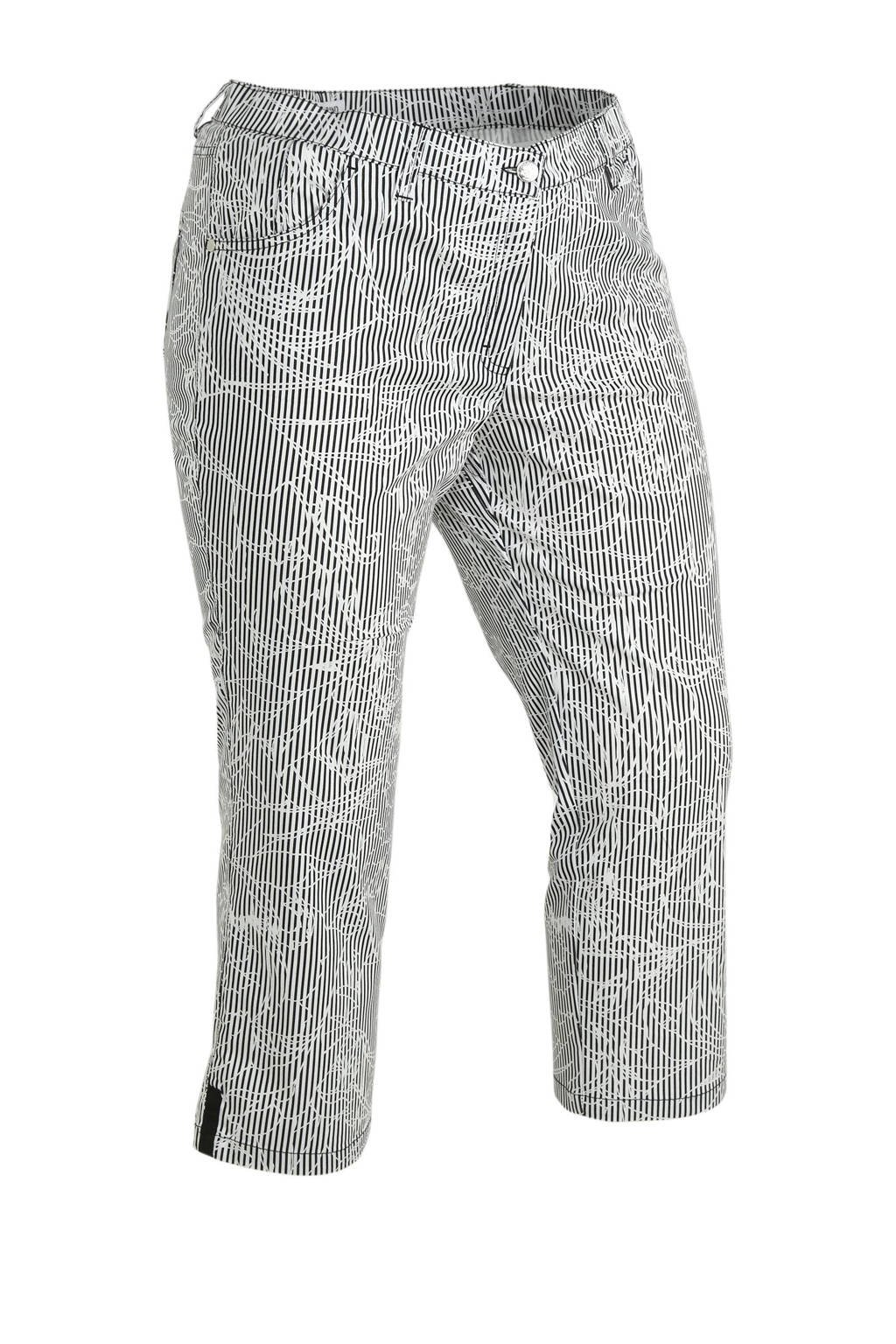 KjBRAND slim fit capri Betty met wol en all over print grijs, Grijs