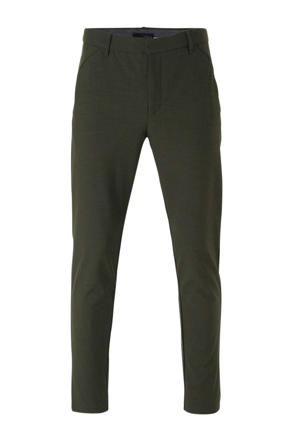 PLAIN slim fit pantalon groen, Groen