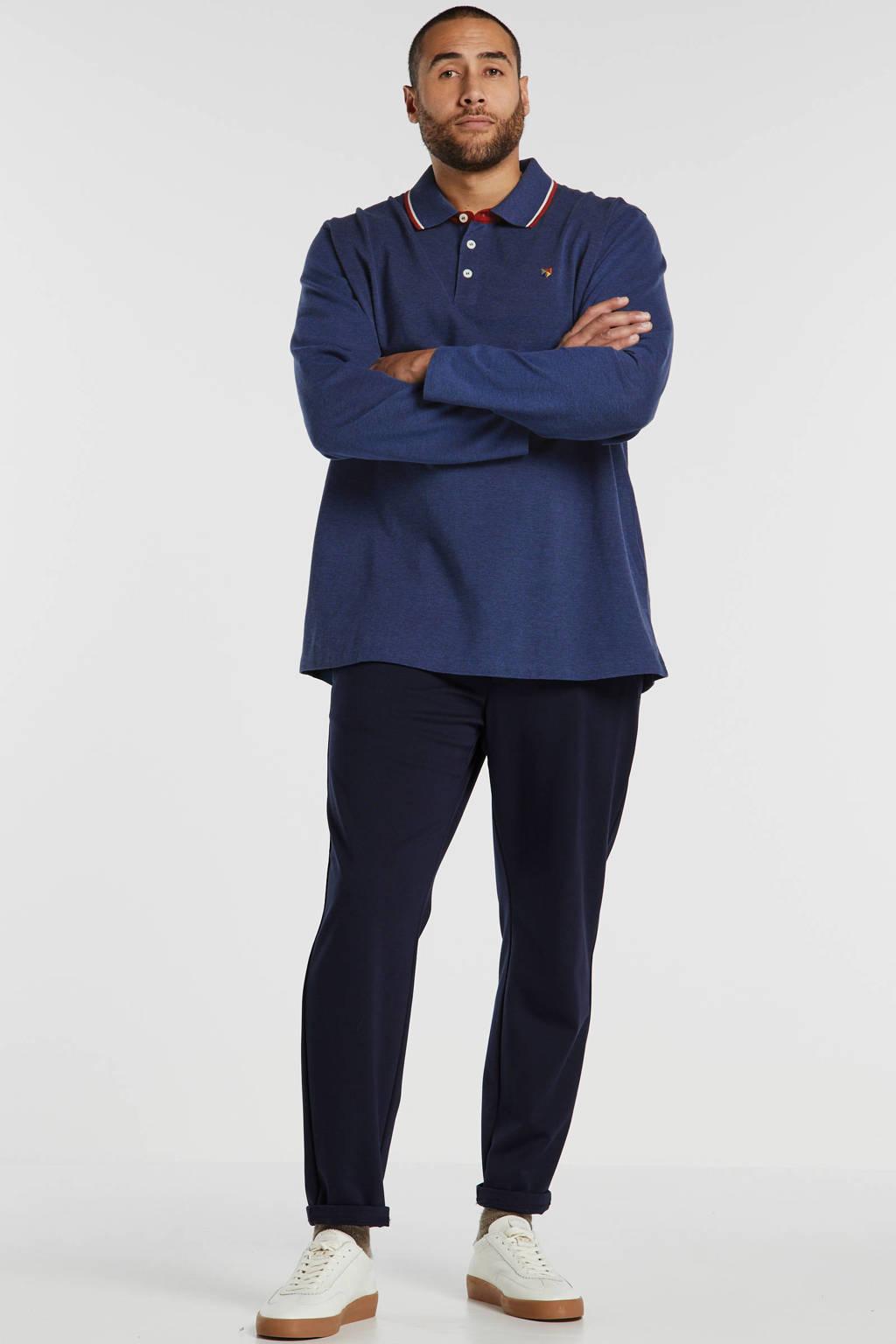 JACK & JONES PLUS SIZE regular fit polo met logo blauw, Blauw