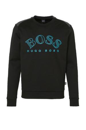 sweater met logo zwart/blauw