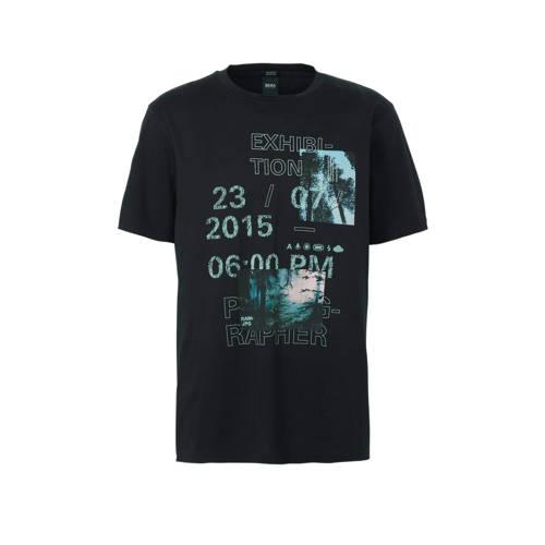 BOSS Casual T-shirt met printopdruk zwart