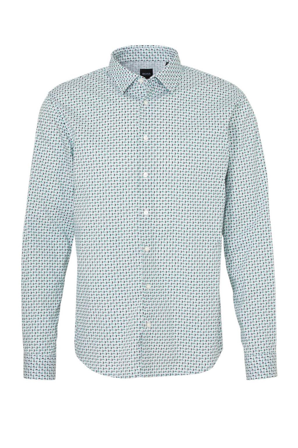 BOSS Casual slim fit overhemd met all over print wit/groen, Wit/groen