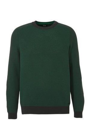 trui met all over print groen/grijs
