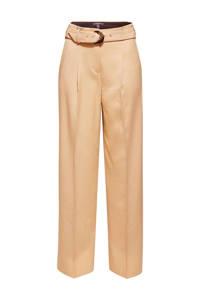 ESPRIT Women Collection high waist straight fit pantalon beige, Beige