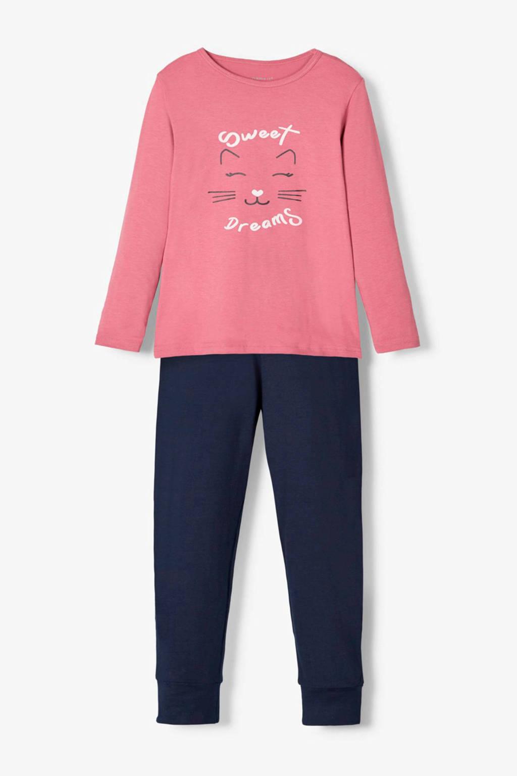 NAME IT MINI pyjama roze/donkerblauw met printopdruk, Roze/donkerblauw