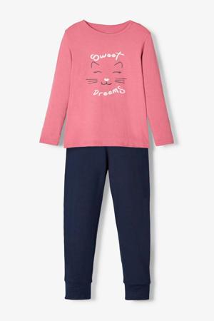 MINI pyjamabroek en longsleeve roze/donkerblauw