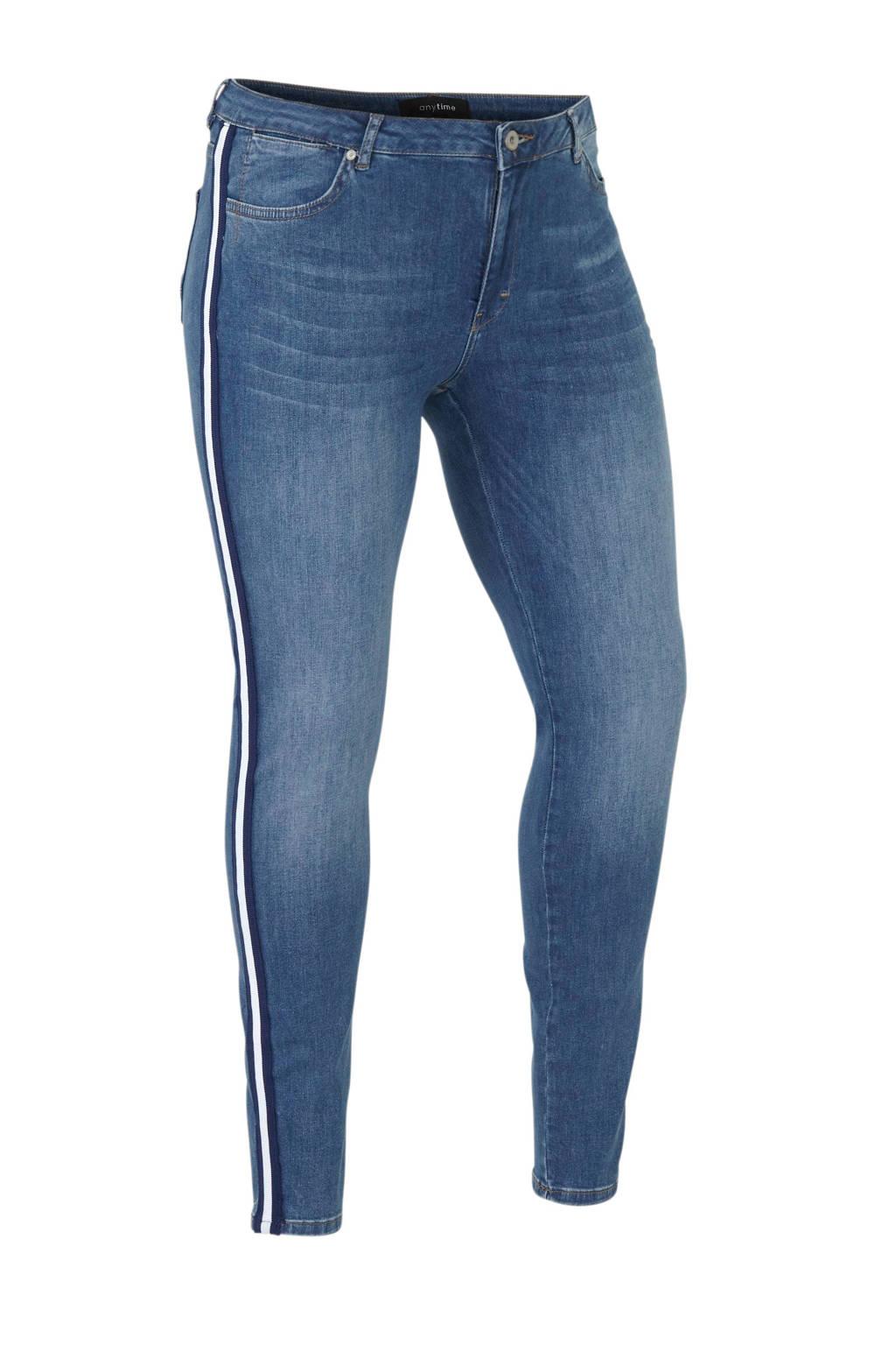 anytime super comfort basic skinny Plus size jeans met zijnaadbies, Stonewashed blauw