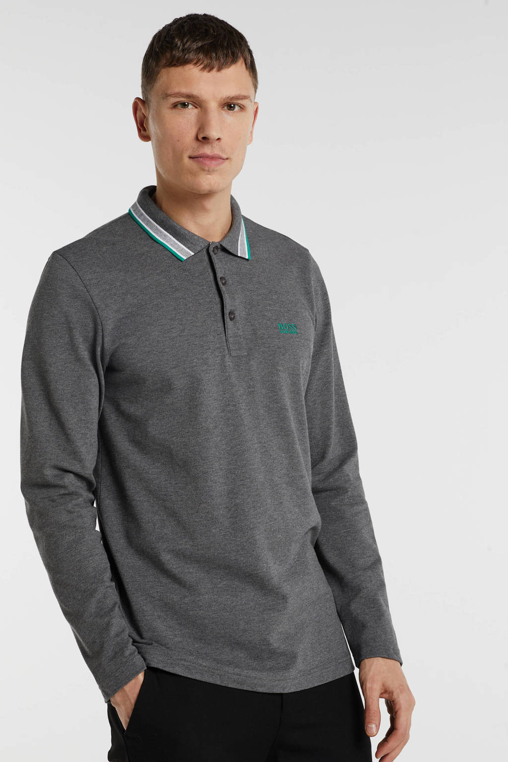 BOSS Athleisure regular fit polo met logo grijs, Grijs