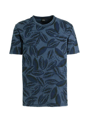 T-shirt met all over print blauw