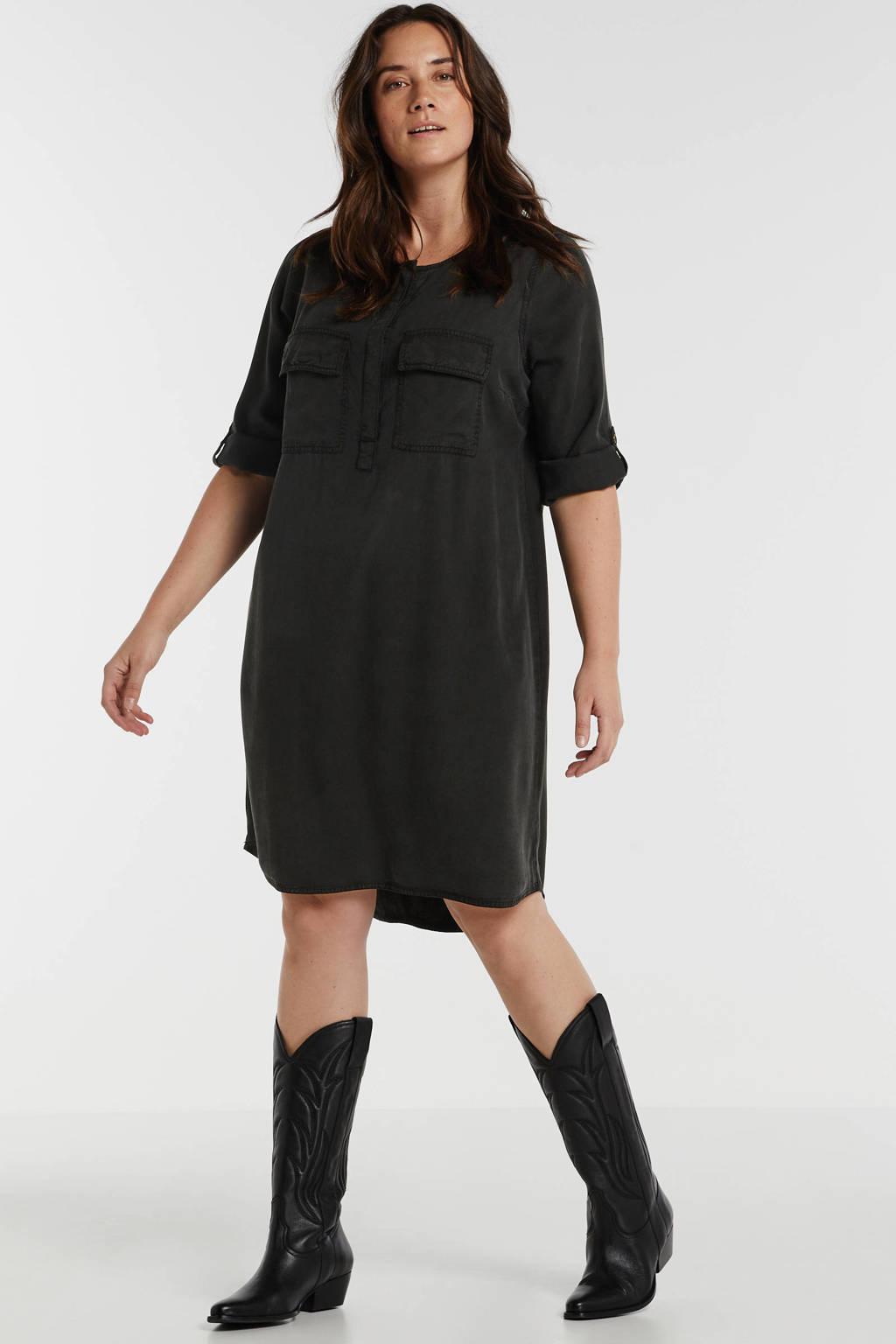 anytime jurk Plus size van viscose-tencel in used look zwart, Zwart