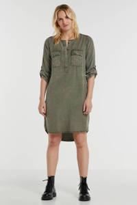 anytime jurk van viscose-tencel in used look groen, Donkergroen