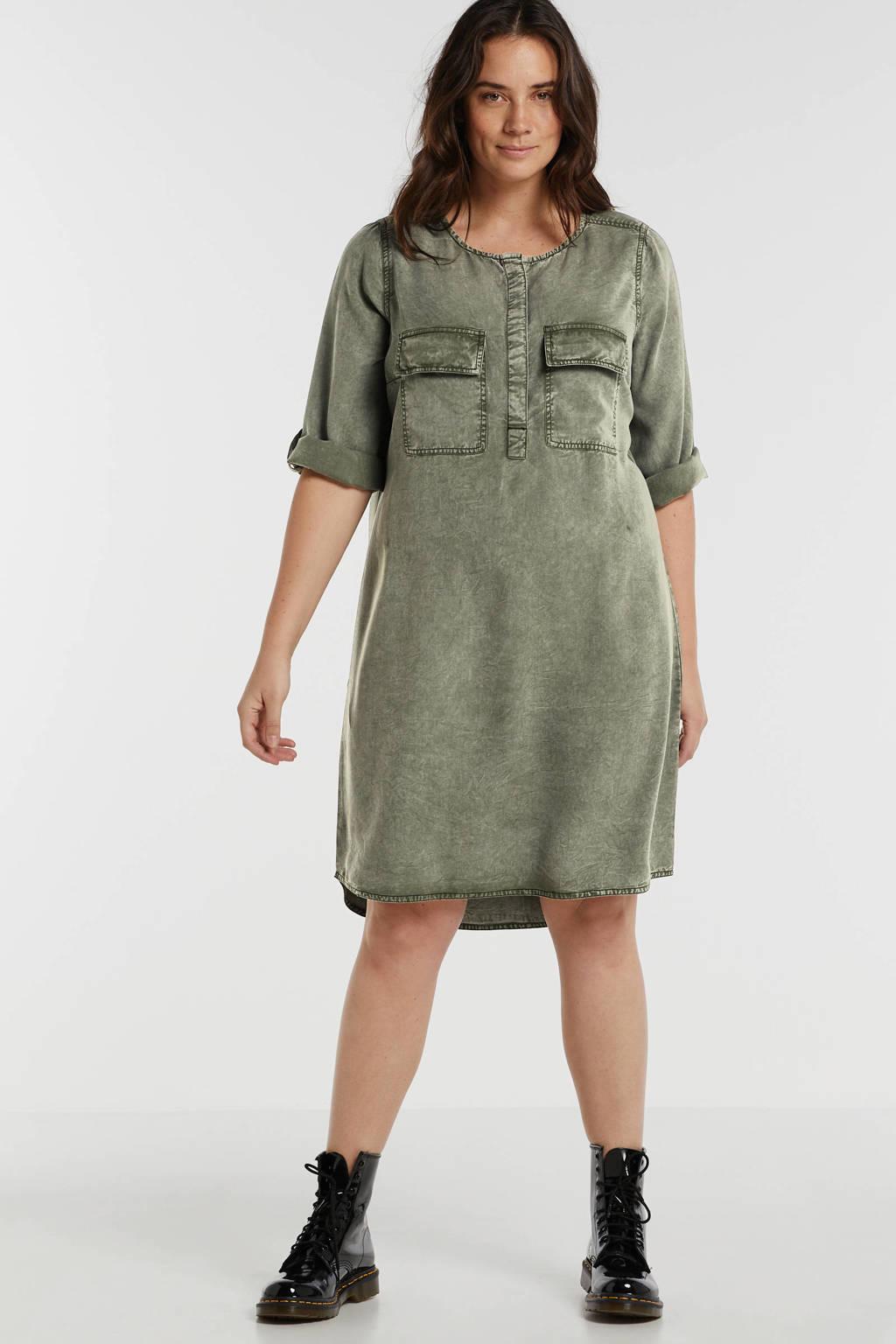 anytime jurk Plus size van viscose-tencel in used look groen, Donkergroen
