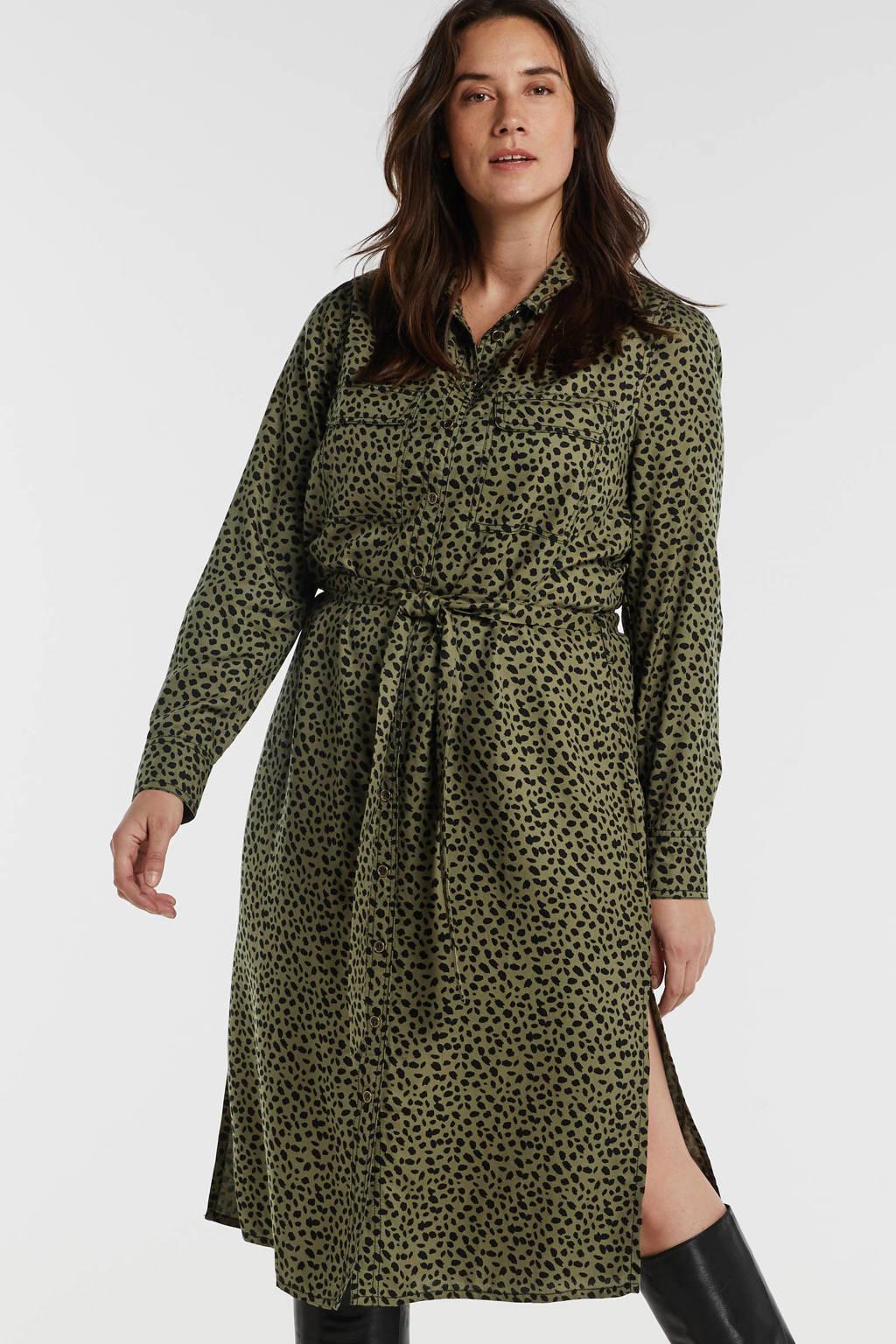 anytime blousejurk Plus size van viscose-tencel met panterprint groen, Groen/zwart