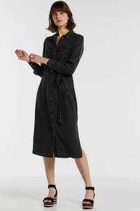 anytime blousejurk van viscose-tencel in used look zwart, Zwart
