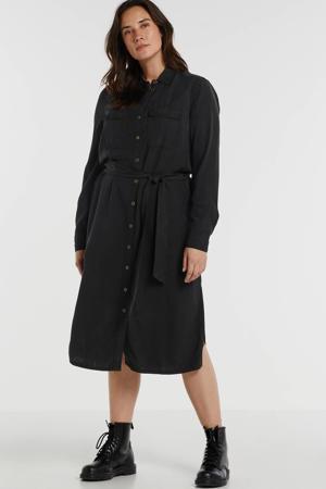 blousejurk Plus size van viscose-tencel in used look zwart
