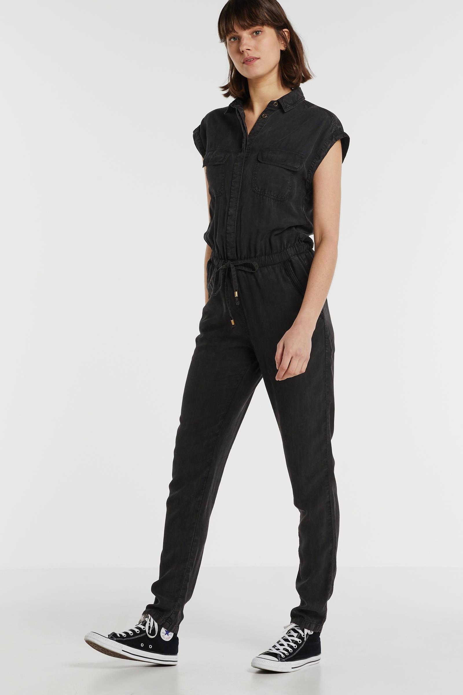 anytime jumpsuit van viscose tencel in used look zwart   wehkamp