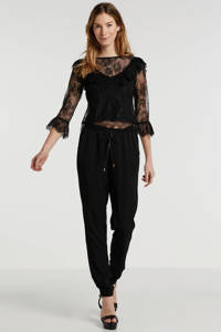 anytime broek van viscose-tencel in used-look zwart, Zwart